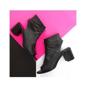 asos • peep toe zip front ankle booties